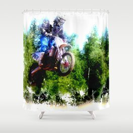 """""""Dare to Fly"""" Motocross Racer Shower Curtain"""