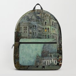 London's St Pauls and Ludgate Hill - Oil Painting, London, England Townscape by Godwin Bennett Backpack