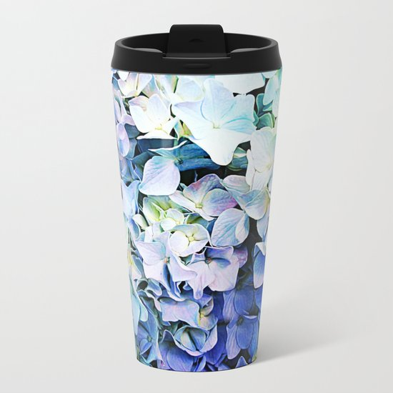 Soft Tri-Color Pastel Hydrangea Metal Travel Mug