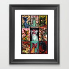 9 Zombie Cats version 2 Framed Art Print