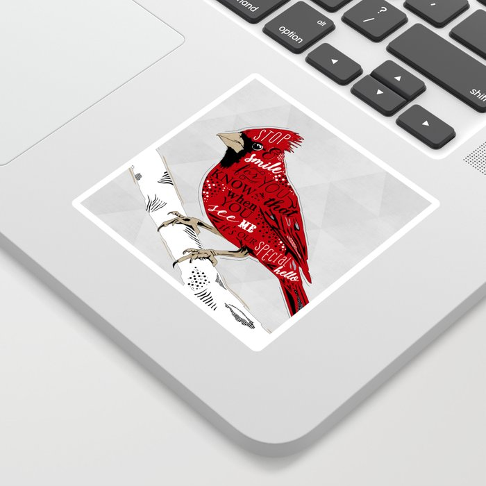 Cardinal Bird Lost Loved One Visiting Sticker