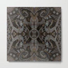 Curves & Lotuses, Black Brown Taupe Metal Print