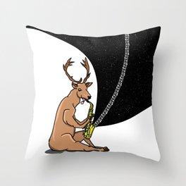 Deer playing a saxophone Throw Pillow