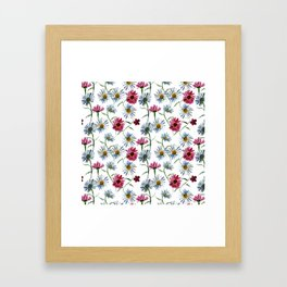 Watercolor rose and blue camomiles Framed Art Print