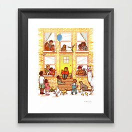 Neighborhood Read Aloud Framed Art Print