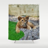 lion king Shower Curtains featuring King Lion by helsch photography