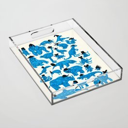 Blue Animals Black Hats Acrylic Tray