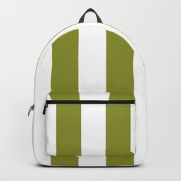 Dark Pastel Green Pepper Stem and White Wide Vertical Cabana Tent Stripe Backpack