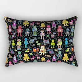 Robots in Space - on black Rectangular Pillow