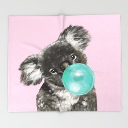 Playful Koala Bear with Bubble Gum in Pink Throw Blanket
