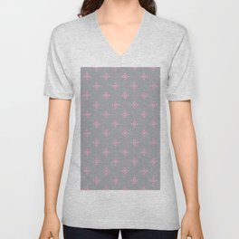 Ornamental Pattern with Grey and Pink Colourway Unisex V-Neck