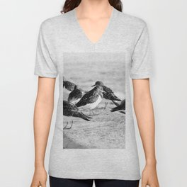 Birds and People relaxing at the beach Unisex V-Neck