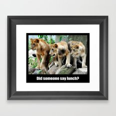 Lunch Time for Lion Cubs Poster Framed Art Print