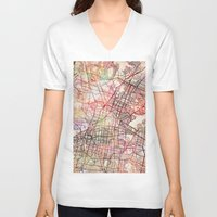 mexico V-neck T-shirts featuring Mexico by MapMapMaps.Watercolors