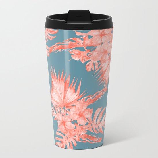 Dreaming of Hawaii Pale Coral on Teal Blue Metal Travel Mug