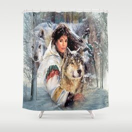 Mountain Woman With Wolfs Shower Curtain