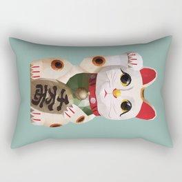 Maneki Neko (Fortune Cat) Polygon Art Rectangular Pillow
