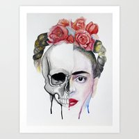 frida kahlo Art Prints featuring Frida Kahlo  by Karol Gallegos Carrera