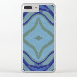 Blue Wave Nautical Medallion Clear iPhone Case