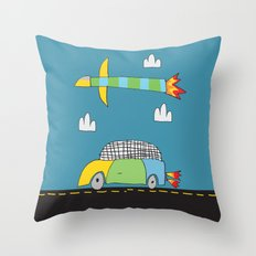 Car Plane Clouds Throw Pillow