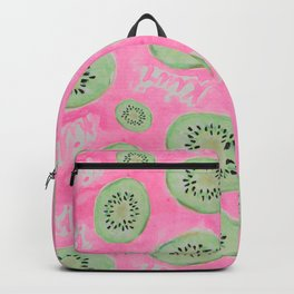 Watercolor Kiwi Slices in Neon Pink Punch Backpack