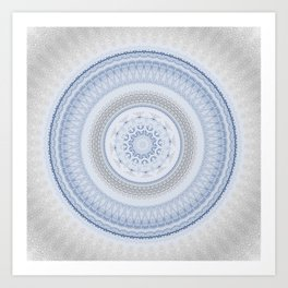 Elegant Blue Silver China Inspired Mandala Art Print