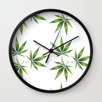 marijuana Wall Clocks featuring Marijuana Leaves  by Limitless Design