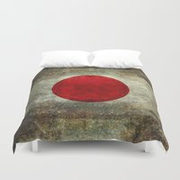 propaganda Duvet Covers featuring The national flag of Japan by Bruce Stanfield