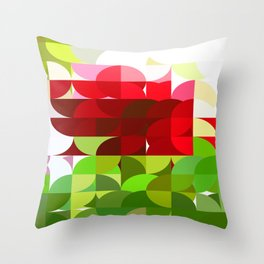 Red Rose with Light 1 Abstract Circles 1 Throw Pillow