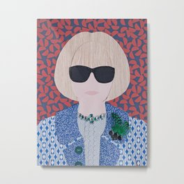 Anna Wintour printed reproduction of an original papercraft illustration Metal Print