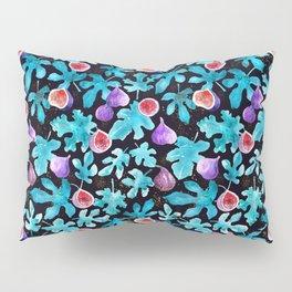 Midnight Sweetness. Dark Botanical Figs and Leaves Pillow Sham