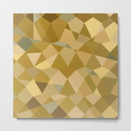 Drab Brown Abstract Low Polygon Background Metal Print