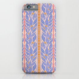 Blue Leaves on Lavender iPhone Case