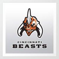 nfl Art Prints featuring Cincinnati Beasts - NFL by Steven Klock