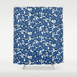 Hibiscus and Plumeria - Blue Shower Curtain