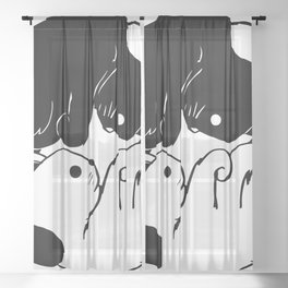 Kitty Ying Yang Sheer Curtain