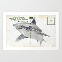 postcard Art Prints featuring Postcard Shark by Sarah Sutherland