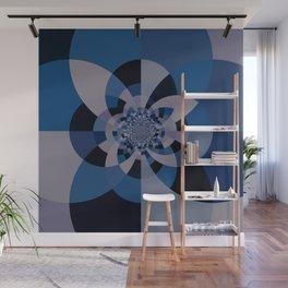 Shades of Classic Blue & Gray Kaleidoscope Mandala Wall Mural