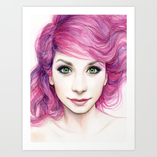 Pink Hair Green Eyes Beautiful Girl Art Print