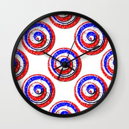 Polka Dot Red White Blue Marble Stacked Tiles Wall Clock