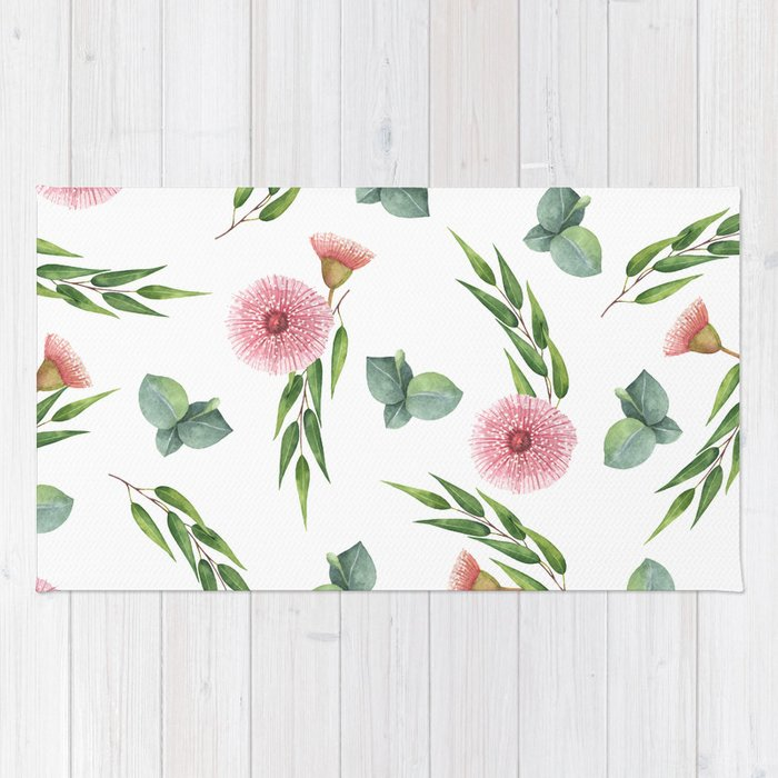 EUCALYPTUS LEAVES WATERCOLOR Rug