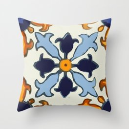 Talavera Mexican tile inspired bold design in blue and gold Throw Pillow