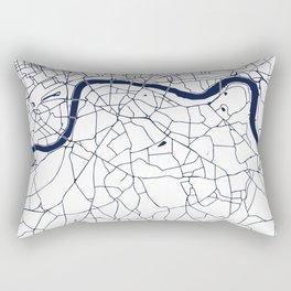 London White on Navy Street Map Rectangular Pillow