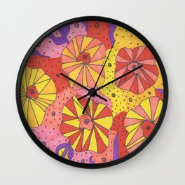 Gallactic Garden Colorful Art Wall Clock