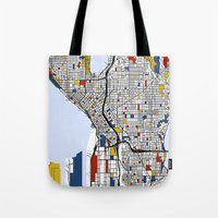 seattle Tote Bags featuring Seattle by Mondrian Maps