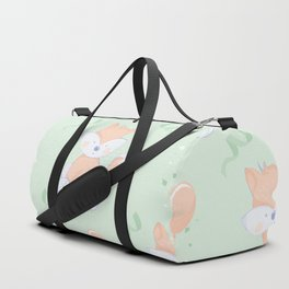 Happy Birthday Orange Fox on Green Background Pattern Duffle Bag