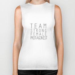 team strong female protagonist white Biker Tank