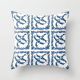Blue and white swallows birds chinoiserie china porcelain toile asian ginger jar delft pattern Throw Pillow