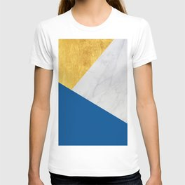 Carrara marble with gold and Pantone Lapis Blue color T-shirt
