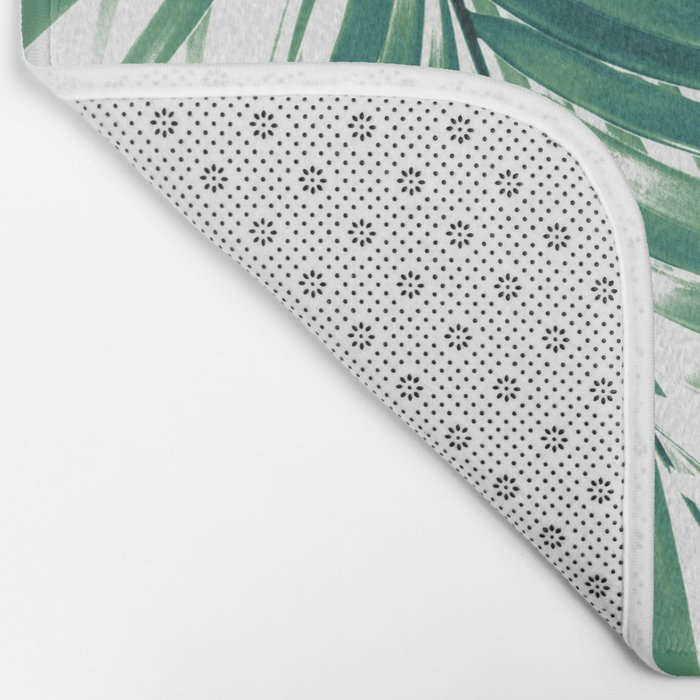 Palm Leaves Green Vibes #4 #tropical #decor #art #society6 Bath Mat